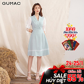 Đầm váy nữ  DA1053 GUMAC thiết kế  cổ lật phối tay