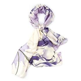Khăn Choàng Cổ Lụa Phối Hoa Hồng Màu Tím Ametit - Silk - 180x90cm - Mã KS049