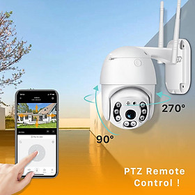 PTZ Outdoor Security Camera, 1080P Waterproof Home WiFi IP Camera, Pan Tilt Dome Surveillance Cam, Two Way Audio Motion Detection Night Vision Onvif