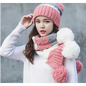 Bộ mũ len quả bông kèm khăn và găng tay lót nỉ phong cách Hàn, sét nón len cho nữ cao cấp