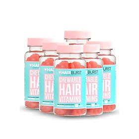 Combo 6 lọ kẹo dẻo vitamin chăm sóc, kích thích mọc tóc HAIRBURST chewable hair vitamins 60 gram/ lọ