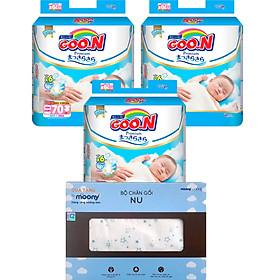 Combo 3 gói tã dán Goo.n Premium NB70/S64/M60/L50/XL46 tặng Bộ chăn gối cao cấp và đồ chơi xe trượt đà cho bé VBC-123-6 (ngẫu nhiên)