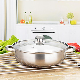 28CM Soup Steam Pot 2 Layers Thick Stainless Steel Pot with Lid for Kitchen Cooking