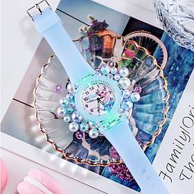 Đồng hồ trẻ em hình công chúa elsa đèn led 7 màu dành cho bé gái - ELSA21