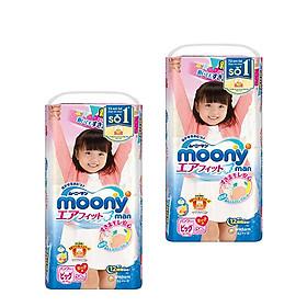 Combo 2 gói  tã quần Moony XL38 bé gái [ Mẫu Như Hình]-0