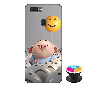 Ốp lưng điện thoại Oppo A5S hình Heo Con Thả Bong Bóng tặng kèm giá đỡ điện thoại iCase xinh xắn - Hàng chính hãng