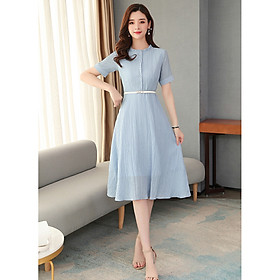 Celebrity Temperament Mid-length Slim Chiffon Shirt Dress With Waist (T209)