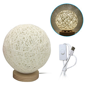 Round LEDs Table Moon Lamp Night Lights USB Ball Lamp Woven Rattan Bedside Desk Lamp for Bedroom Living Room