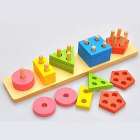 Đồ chơi gỗ an toàn cho bé - Thả hình 3D - giáo cụ Montessori Mk