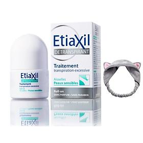 Lăn Khử Mùi Etiaxil Détranspirant Traitement Aisselles Peaux Sensibles 15ml (Dành cho da hỗn hợp, da nhạy cảm) + Tặng 1 Băng Đô Tai Mèo Xinh Xắn ( Màu ngẫu nhiên)