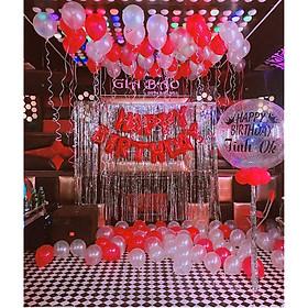 Set bóng trang trí sinh nhật tông trắng đỏ kèm 2 rèm kim tuyến bạc