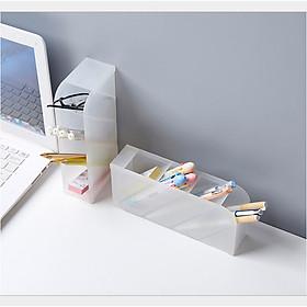 Hộp đựng bút trong suốt 4 NGĂN để bàn đa năng, khay đựng bút NHỰA 4 tầng