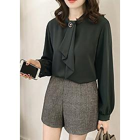 Áo kiểu nữ công sở Louro L206, mẫu áo sơ mi cổ trụ, tay áo bồng, chất liệu vải mịn lên form tốt, kiểu dáng lịch sự nhẹ nhàng
