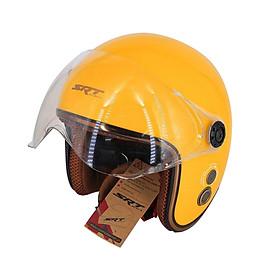 Mũ bảo hiểm 3/4 đầu SRT viền đồng, thông gió có kính chống tia UV cao cấp