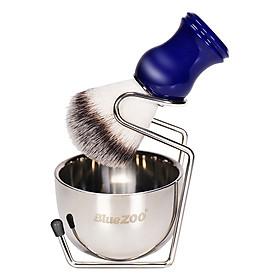 Blue ZOO Shaving Kit Set for Men's Wet Shaving Brush Holder Stand Bracket Rack Soap Bowl Mug Hair Removal Beard Brush