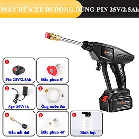 Máy rửa xe mini di động sạc pin tuổi thọ cao 25V/2.5Ah/240W, áp lực nước 30 bar, bơm liên tục 40 phút