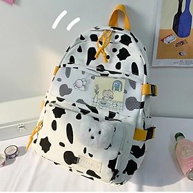 Balo ulzzang bò sữa chất vải canvas nữ đi học laptop thời trang học sinh sinh viên Cặp ( tặng kèm sticker và gấu)