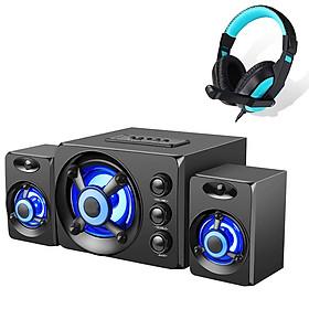 Bộ Loa Máy Vi Tính Để Bàn D-208 Âm Thanh Trầm Hỗ Trợ Bluetooth, USB, Thẻ nhớ, AUX - Dùng Cho Laptop, PC, Tivi + Tặng tai nghe chụp tai CT770 ( Giao Màu Ngẫu Nhiên )