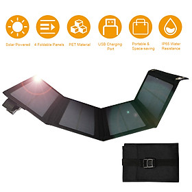 5V 20W USB Solar P-owered Energy Cell C-harger with Chargeing Cable Foldable Bendable IP65 Water Resistance P-ower B-ank