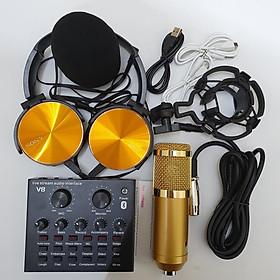 combo Bộ Míc Thu Âm Livestream Hát Karaoke Online Micro BM-900+ CARD V8 Bluetooth Tặng Tai 450