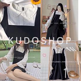 Set váy yếm 2 dây dáng dài phối áo sơ mi bèo cổ tròn tay buộc nơ phong cách ulzzang_kudoshop