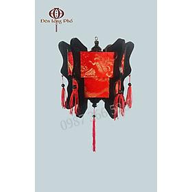 Đèn lồng gỗ lục giác vải gấm rồng xuất xứ Hội An