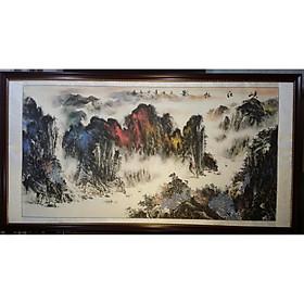 Tranh thủy mặc, Non nước hữu tình ( tưa núi thái sơn)-TM48