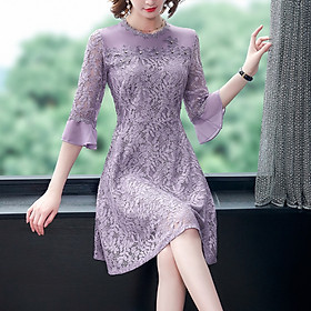 Gentle wind lady looks thin purple lace A-line skirt