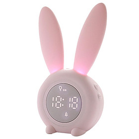 Thermometer Temperature Display Rechargeable Night Light Digital Snoozing Multifunctional Alarm Clock Rabbit Shaped