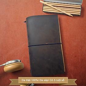 Sổ da Midori refill 3 ruột trắng trơn size regular 22x12 có thể mua thêm ruột