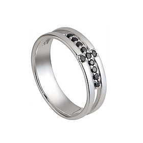 Nhẫn bạc nam PNJSilver đính đá màu đen 11278.403