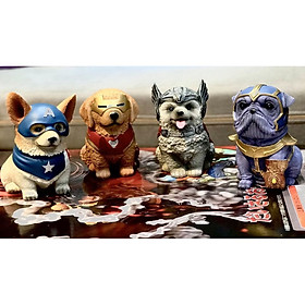 Mô hình trưng bày chó cute cosplay super hero