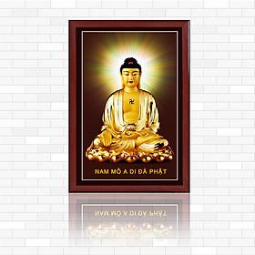Tranh đèn  Thờ cúng :  Đức Phật A Di Đà A1014, Kính cường lực 5mm, có sẵn nguồn điện và phụ kiện treo tranh