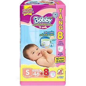 Tã Quần Bobby - Đệm Lưng Thấm Mồ Hôi S46 (46 Miếng) Tặng 8 Miếng Tã Quần Size S
