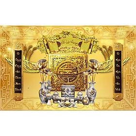Tranh dán tường 3D khổ lớn cuốn thư dán phòng thờ đẹp - vải lụa kim tuyến- kích thước theo yêu cầu