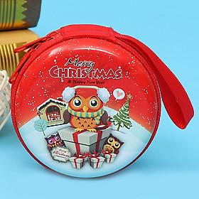 Mini Tinplate Christmas Cartoon Gift Box Storage Bag Pendant for New Year Decoration Kid Toy Gift