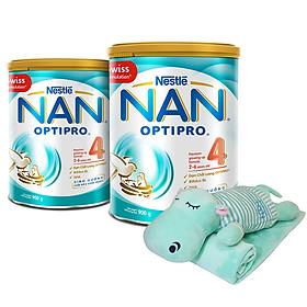 Combo 2 Lon Sữa Bột Nestlé NAN OPTIPRO 4 900g - Tặng Bộ Gối Mền Hà Mã