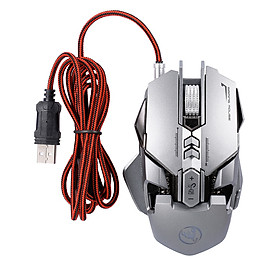 HXSJ J800 Wired Gaming Mouse Seven-key Macro Programming Mouse with Six Adjustable DPI Colorful RGB Light Effect Grey