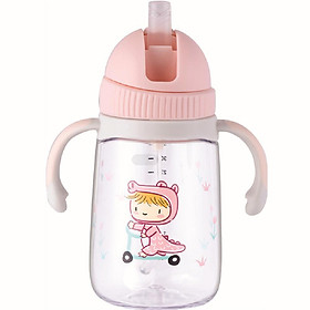 Bình tập uống nước cho bé Lock&Lock 240ml 350ml - Hàng chính hãng, chất liệu nhựa Tritan, có ống hút, có quai cầm, chống sặc, họa tiết ngẫu nhiên