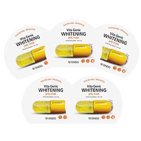 Combo 5 Mặt nạ giấy dưỡng da trắng sáng và làm đều màu da  Banobagi Vita Genic Whitening Jelly Mask (Vitamin C) 30ml x5