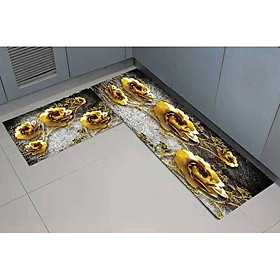 Bộ thảm bếp nỉ nhung lì cao cấp chống trượt dễ dàng vệ sinh, in 3D phong cách Hàn Quốc cho phòng bếp hiện đại