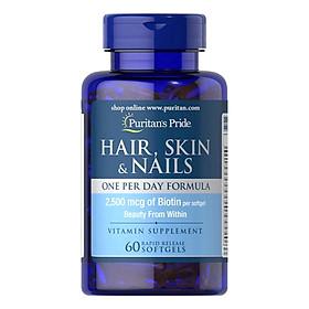 Thực Phẩm Chức Năng - Giảm Mụn Trứng Cá, Giảm Nhờn Cho Da Dầu Và Mụn, Giúp Mọc Tóc, Đẹp Da Puritan'S Pride Hair, Skin & Nails 60 Viên