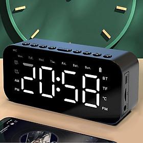 VINETTEAM Loa Bluetooth Mặt Gương Kiêm Đồng Hồ Báo Thức P6 Màn Hình Led Tích Hợp Thẻ SD FM AUX Đo Nhiệt Độ – Hàng Chính Hãng