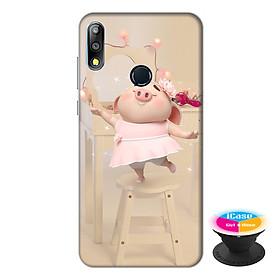 Ốp lưng điện thoại Asus Zenfone Max Pro M2 hình Heo Con Mặc Váy tặng kèm giá đỡ điện thoại iCase xinh xắn - Hàng chính hãng