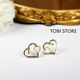 Ảnh shop chụp - Bông tai nữ hình trái tim xinh đính đá TB273 - TOBI'SHOP