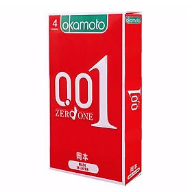 Bao Cao Su Okamoto 0.01 Zero Zero One Siêu Mỏng, Truyền Nhiệt Tốt, Cực Kì Dẽo Dai Hộp 4 Chiếc