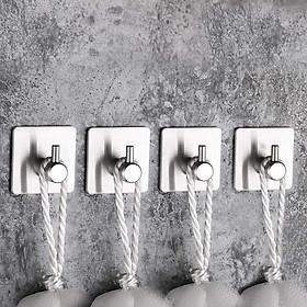 Bộ 4 Móc Treo Đồ Inox SUS304 Đơn Sử Dụng Keo Dán Tiện Lợi Không Cần Khoan Tường