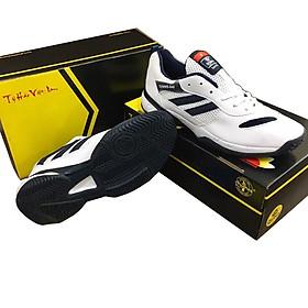 Giày Đánh Tennis Chí Phèo CP046 Màu Trắng Phối Đen