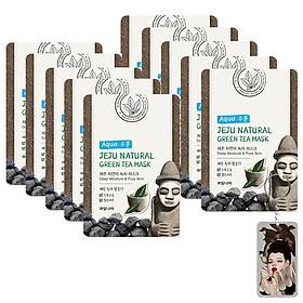 Bộ 10 miếng mặt nạ trà xanh Jeju Green Tea Mask Hàn Quốc 10x20g + Móc khóa