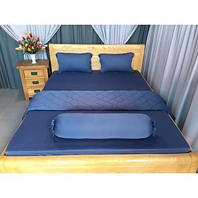 bộ drap thun lạnh Hàn Quốc 4 món màu xám xanh
